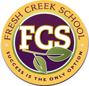 Purple and gold school logo that reads F C S in the center with a green leaf under the letters.