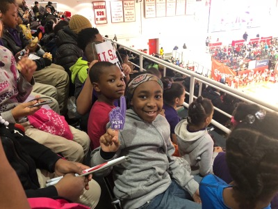 Enjoying a basketball game at St. Johns University