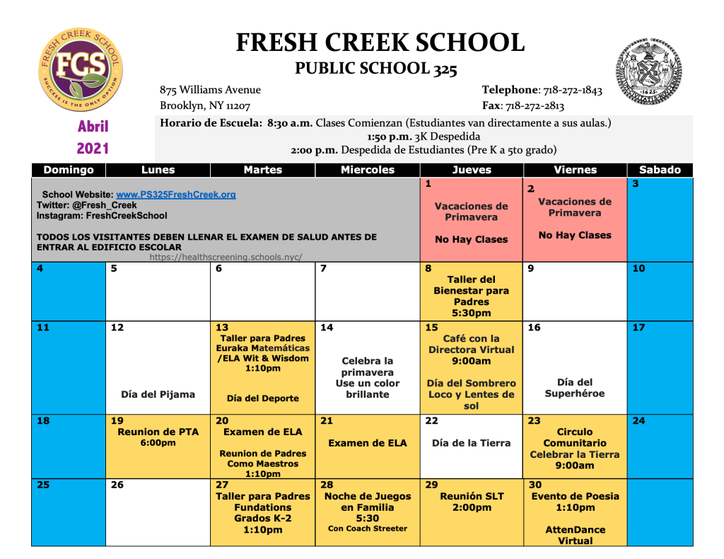 Image of April School Calendar showing dates for school events