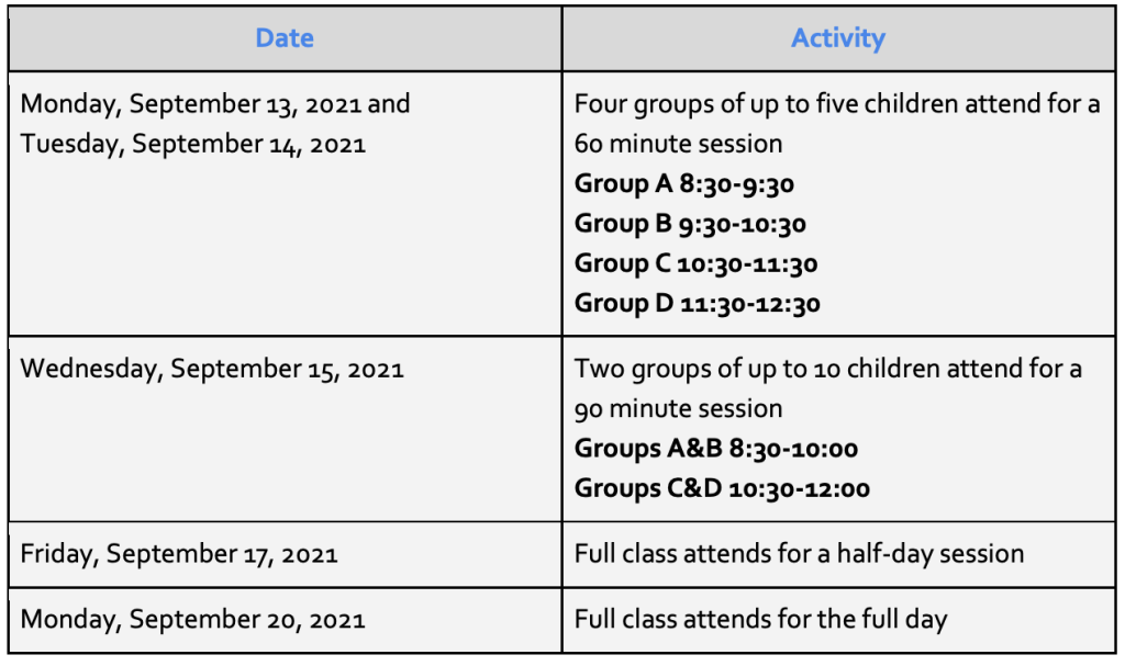 3K and PreK staggered schedule for 1st week of school